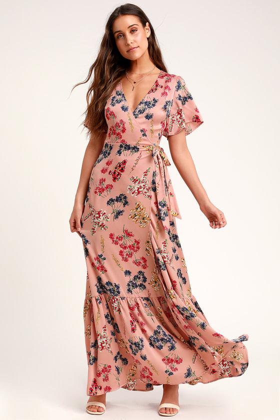 d6b910ff5f6 LULUS. Mystic Mondays Mauve Floral Print Wrap Maxi Dress