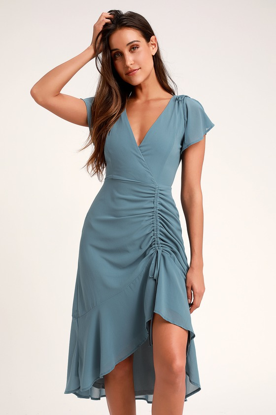 OUTSTANDING DENIM BLUE RUCHED HIGH-LOW MIDI DRESS