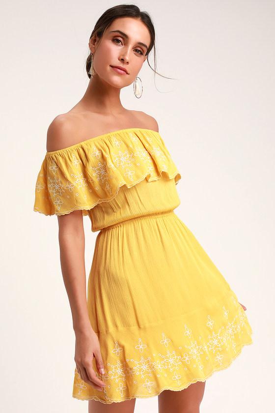 b4eba7edb275 Cute Yellow Dress - Vacation Dress - Short Skater Dress