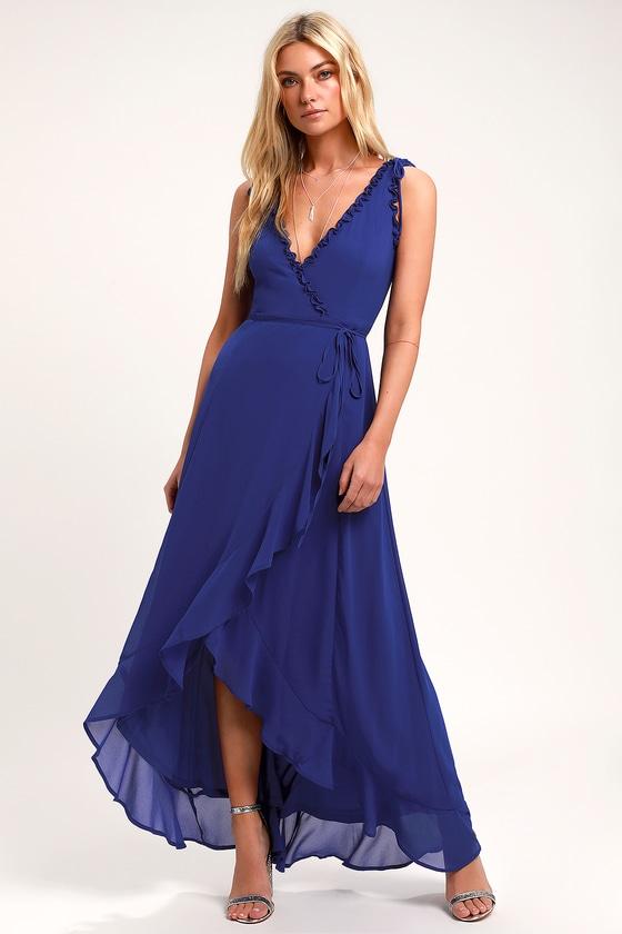 Juliette Cobalt Blue Ruffled High Low Wrap Dress by Lulus