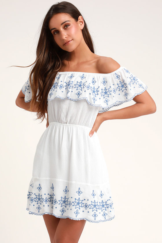 bb138f43ebe1 Cute Embroidered Dress - White Vacation Dress - Skater Skirt