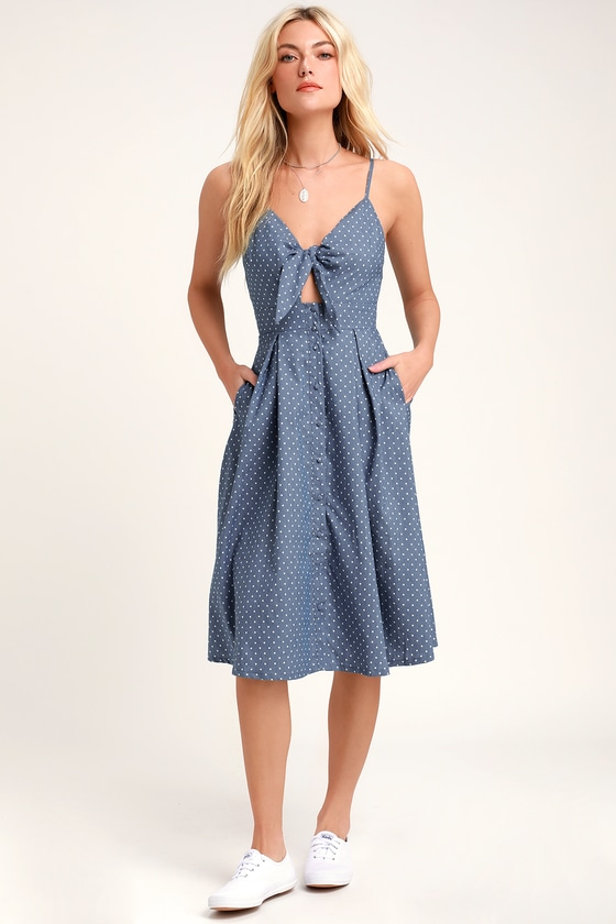 Bonnie Bell Blue and White Polka Dot Midi Flare Dress - Lulus