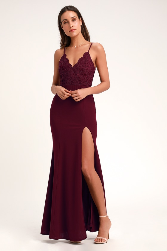 a31637ec521 Lovely Burgundy Maxi Dress - Mermaid Maxi Dress - Formal Dress
