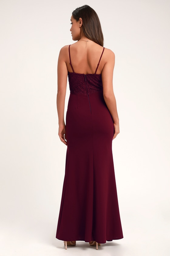 7aac8511fe Lovely Burgundy Maxi Dress - Mermaid Maxi Dress - Formal Dress