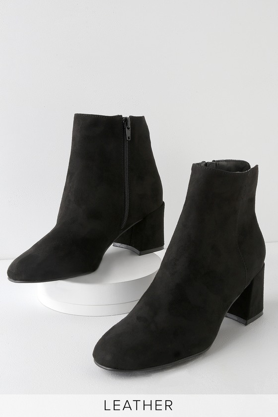 3448d96703b Chinese Laundry Daria - Black Ankle Booties - Faux Suede Booties