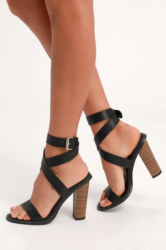 03152222ece Cute Black Heels - Ankle Strap Heels - Wood-Look Stacked Heels