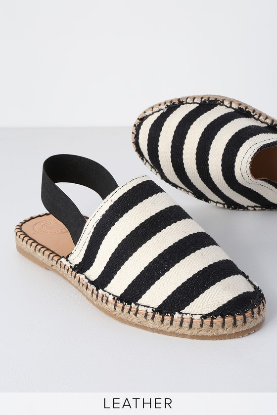 Silvia Black Striped Slingback Espadrille Flats by Morkas