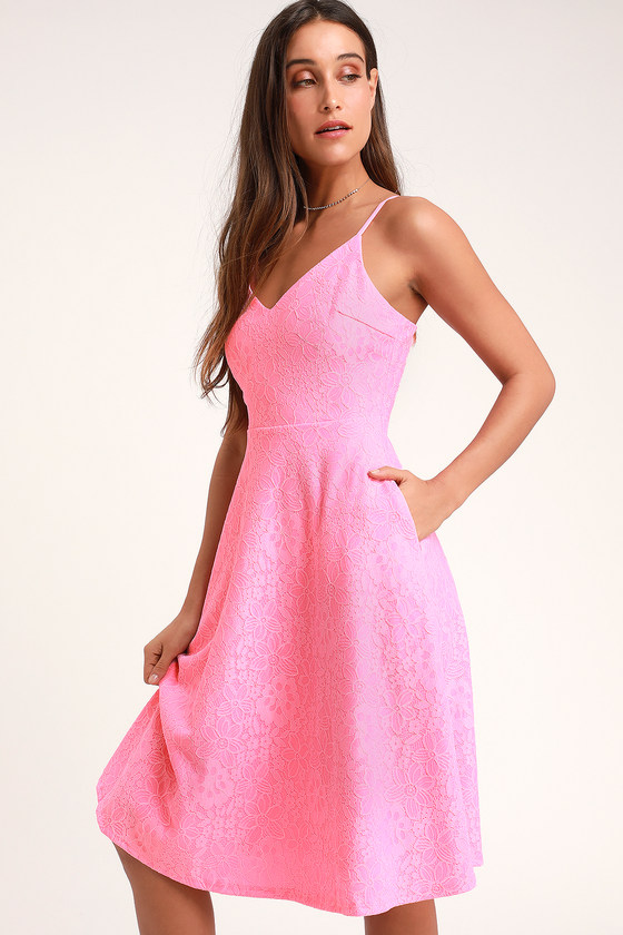 f37a80c3cf Cute Pink Lace Dress - Lace Midi Dress - Lace Skater Dress