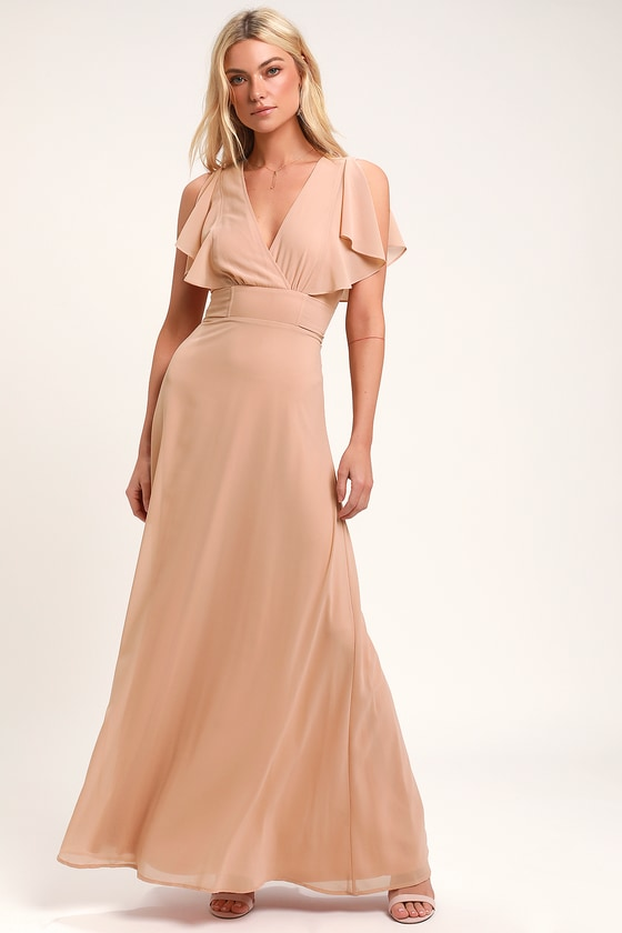 Dearly Loved Blush Flutter Sleeve Maxi Dress by Lulus