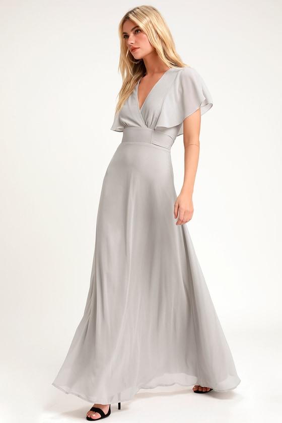 a3b151bc952b Pretty Light Grey Maxi Dress - Flutter Sleeve Dress - Gown