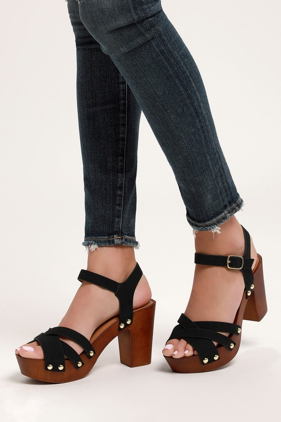 6eedc8f3f1a Cute Nubuck Heels - Wooden Platform Heels - Black Nubuck Heels