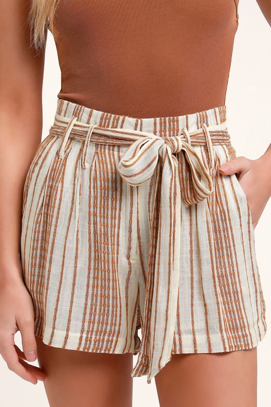 4d4f3ab1f Cute Striped Shorts - Woven Shorts - Tie-Waist Shorts