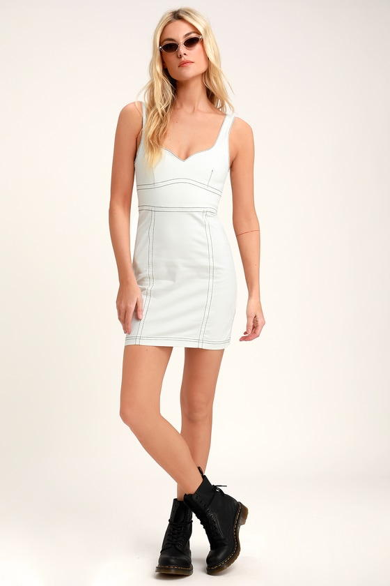 f3e3365c90d57 MINKPINK Senses - White Mini Dress - Denim Mini Dress