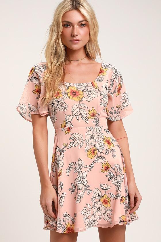 8485dedd0207c2 Lovely Floral Dress - Blush Pink Dress - Chiffon Skater Dress
