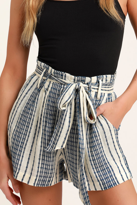 Laguna Blue Striped High Waist Shorts - Trendy Casual Career Outfit - Summer Fashion