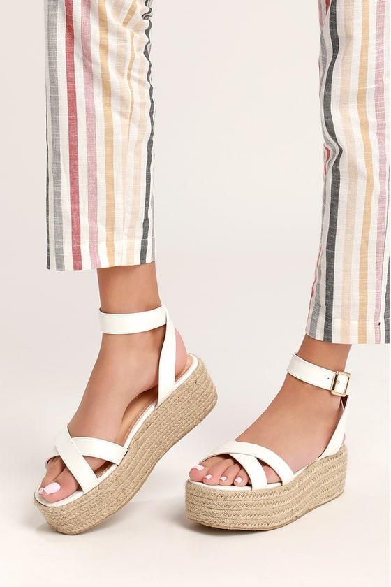 d159a456bb23 Cute White Espadrilles - Espadrille Sandals- Platform Sandals