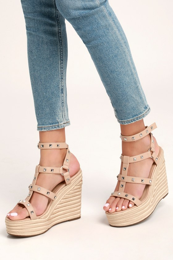 3007353c1a5 Give Light Natural Studded Espadrille Wedges