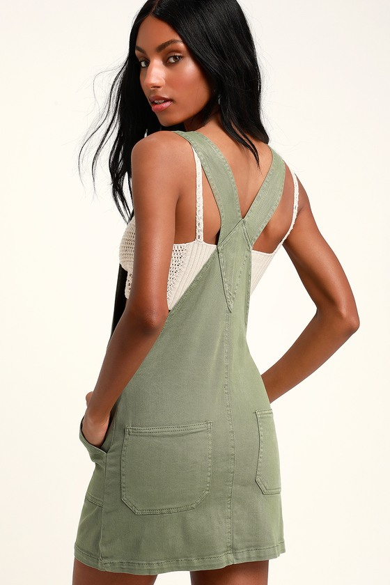 91b451d52b Others Follow Abigail - Sage Green Denim Overall Dress - Skirtall