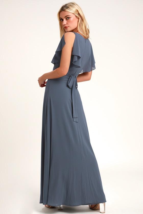 ec21b2a6da9f Pretty Slate Blue Maxi Dress - Flutter Sleeve Dress - Gown