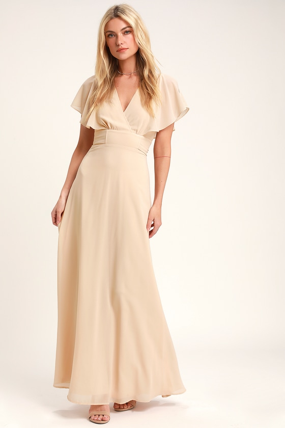 Vintage Evening Dresses and Formal Evening Gowns Dearly Loved Cream Flutter Sleeve Maxi Dress - Lulus $82.00 AT vintagedancer.com
