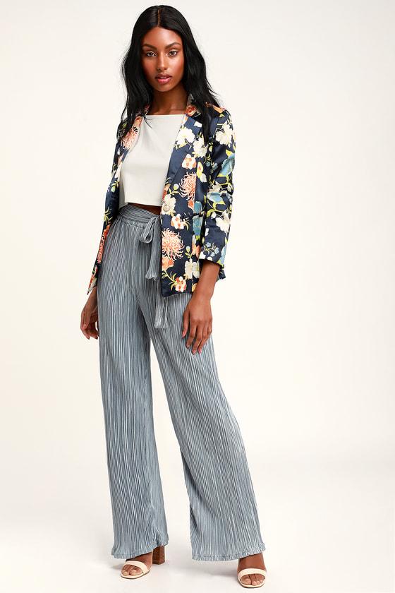 6c9d15bbe02 Chic Pleated Pants - Slate Blue Pants - Pleated Satin Pants