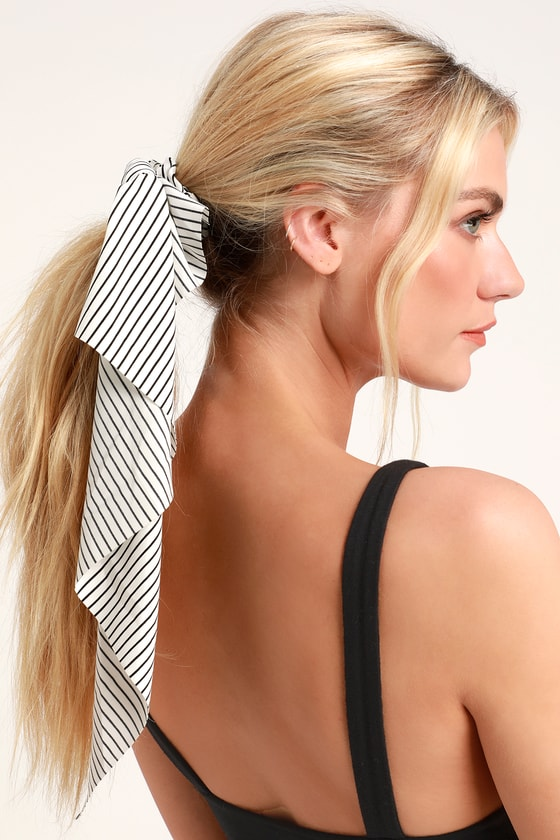 With a Twist Black and White Striped Scarf Ponytail Holder - Lulus