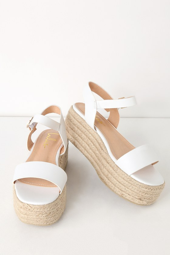 8c7e40ac5f Cute White Sandals - Espadrille Sandals - Flatform Sandals