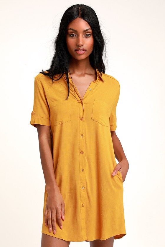 983955d374c7 Cute Mustard Yellow Dress - Button-Up Dress - Shirt Dress