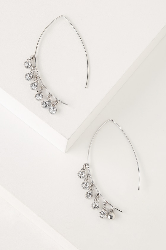 d876b2d2b8973 Pretty Silver Threader Earrings - Rhinestone Threader Earrings