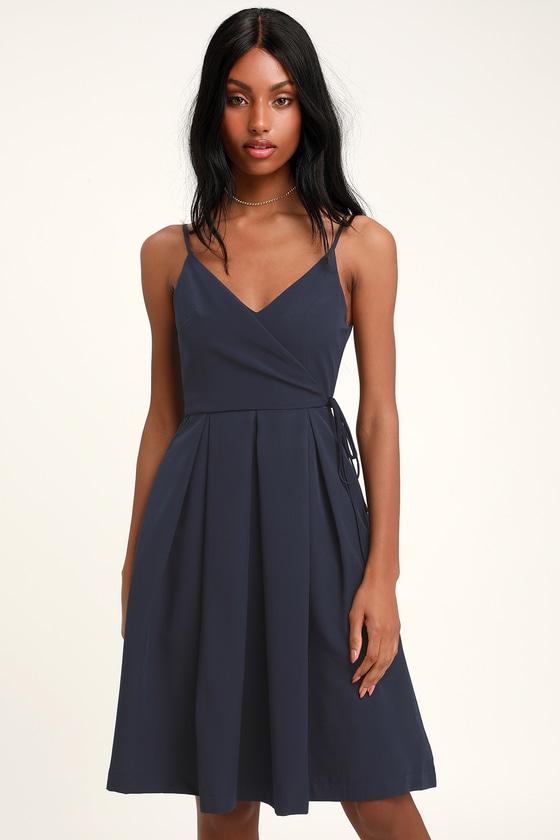 60738522d328 Cute Navy Blue Dress - Faux Wrap Dress - Midi Dress - Midi Skater