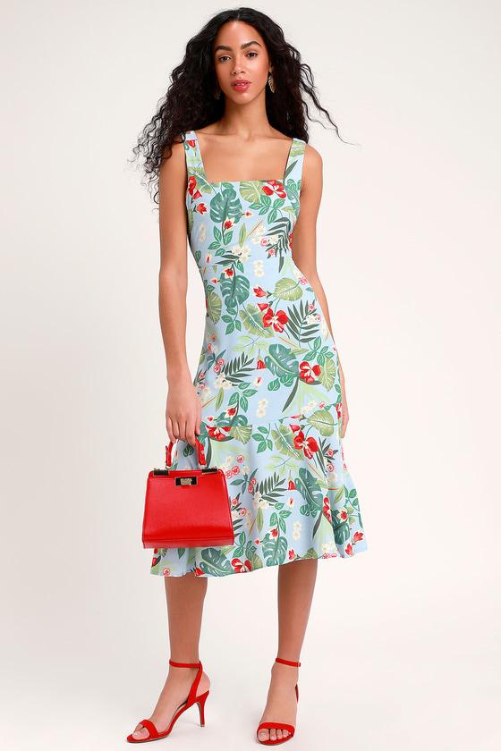 8e53c732743d Cute Blue Floral Dress - Tie-Back Dress - Tropical Print Dress