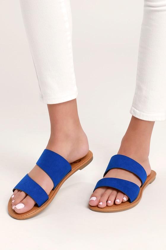0f529eb9af Cute Cobalt Blue Sandals - Flat Sandals - Blue Slide Sandals