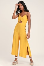 d68cd6f9acc355 Imagine That Mustard Yellow Tie-Back Cutout Culotte Jumpsuit