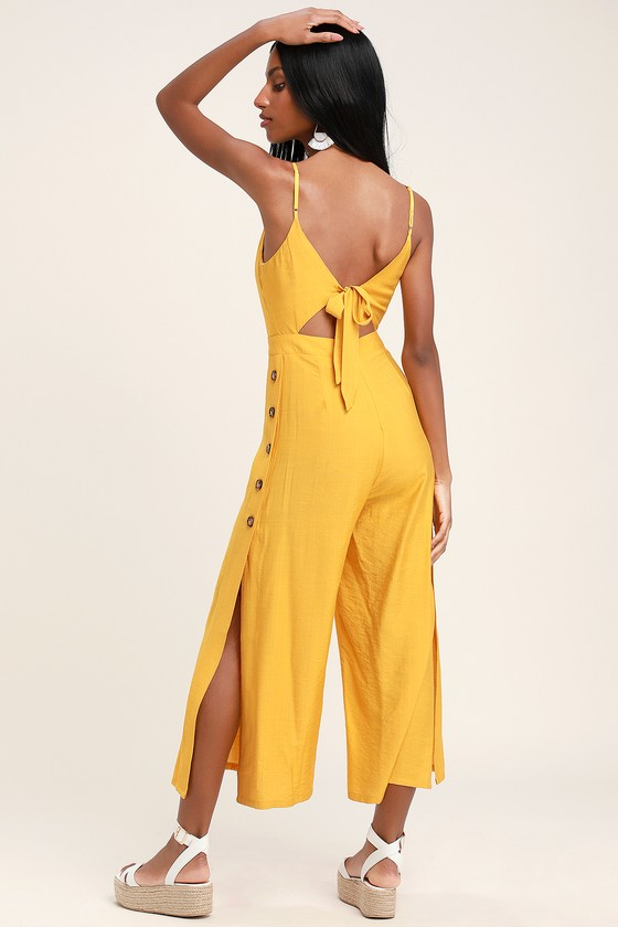 55b653e9b97 Mustard Yellow Jumpsuit - Culotte Jumpsuit - Tie-Back Jumpsuit