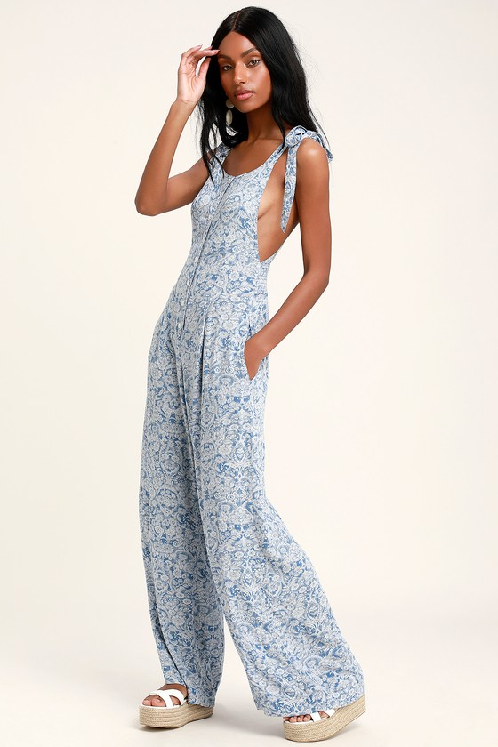official supplier great fit crazy price Sugar Sands Blue Print Wide-Leg Overalls