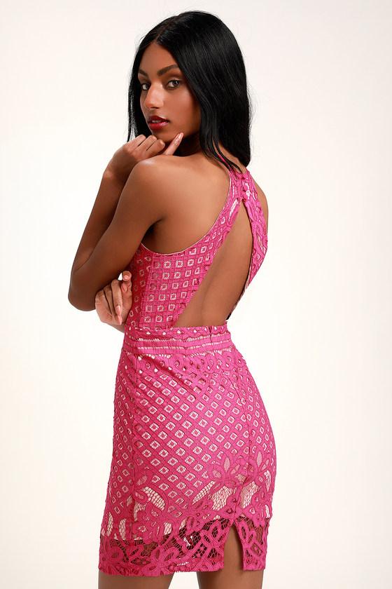 b82adc2ea022b Sexy Magenta Dress - Lace Dress - Sheath Dress - Pink Lace Dress