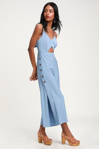 e0ba6ab2fb1 Imagine That Light Blue Tie-Back Cutout Culotte Jumpsuit