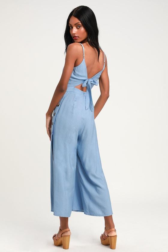 2c5d2ef17c2c Light Blue Culotte Jumpsuit - Cutout Jumpsuit - Tie-Back Jumpsuit