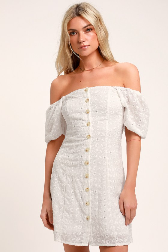 cdb8fb9a2c Cute White Mini Dress - Eyelet Lace Dress - Puff Sleeve Dress