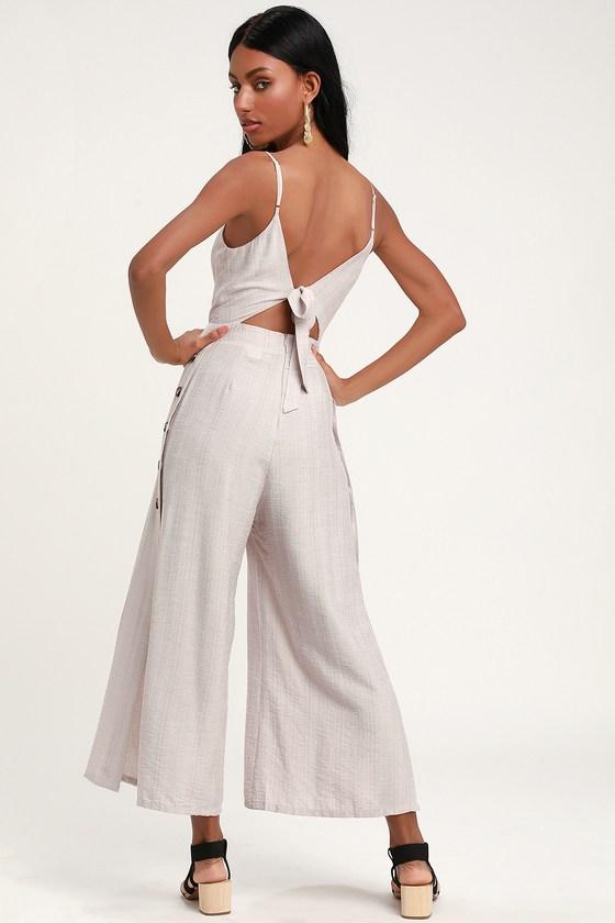 07e6a8ccce2 Light Taupe Jumpsuit - Culotte Jumpsuit - Tie-Back Jumpsuit