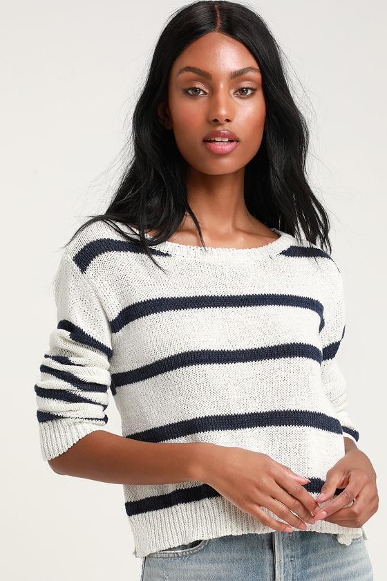BB Dakota SAIL AWAY BLUE AND WHITE STRIPED CROPPED SWEATER