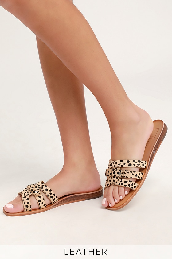 ea94e546cf11 Dolce Vita Cait - Leopard Slide Sandals - Calf Hair Slide Sandals