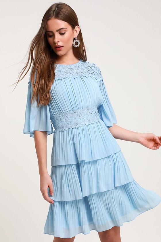1960s Dresses | 60s Dresses Mod, Mini, Jackie O, Hippie Westwind Light Blue Lace Pleated Dress - Lulus $69.00 AT vintagedancer.com