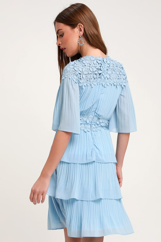 ed5c8f7b8a8 Lovely Light Blue Dress - Lace Dress - Pleated Dress - Dress