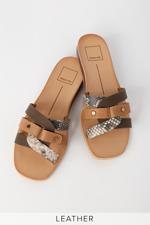 89182ad6484d Dolce Vita Cait - Tan Slide Sandals - Leather Slide Sandals