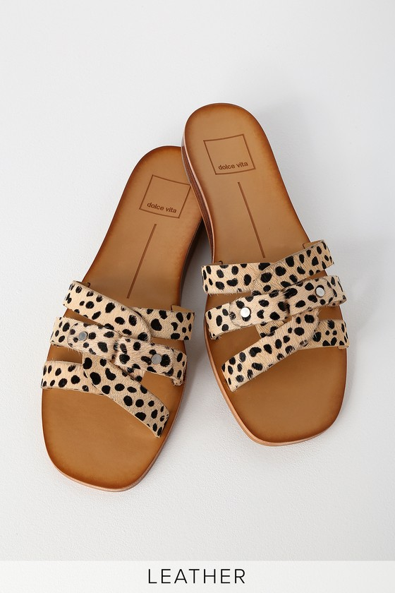 d32986b6cdd3 Dolce Vita Cait - Leopard Slide Sandals - Calf Hair Slide Sandals