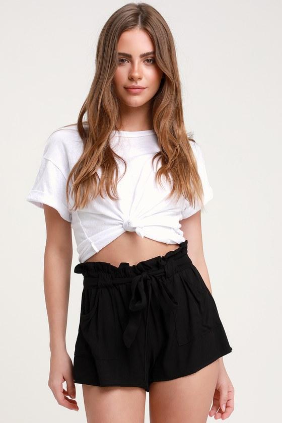 Belt It Out Black Paper Bag Waist Shorts