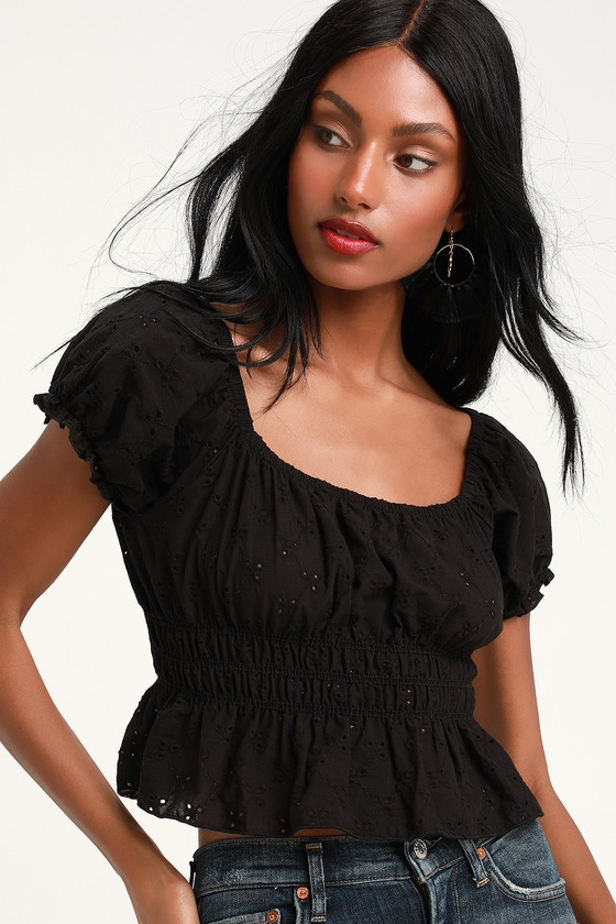 c3ecf02e8411d9 Pretty Puff Sleeve Top - Black Eyelet Lace Top - Crop Top