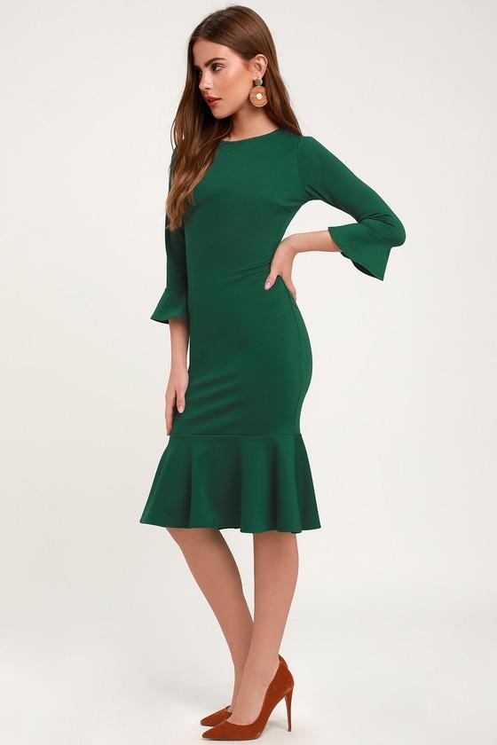 9e35d011f972d Cute Forest Green Dress - Bodycon Dress - Flounce Dress