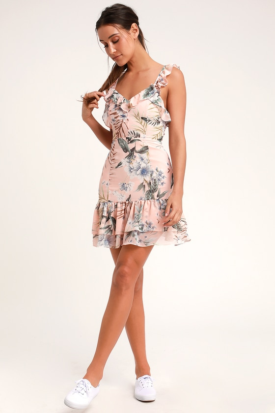 c1c1c95a06 Lovely Blush Pink Floral Print Dress - Lace-Up Dress - Pink Dress